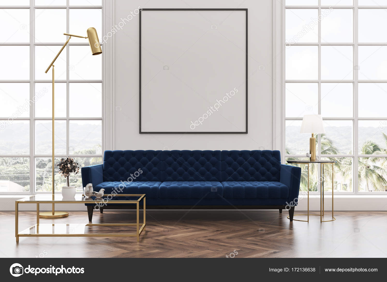 White living room, blue sofa, poster — Stock Photo © denisismagilov ...