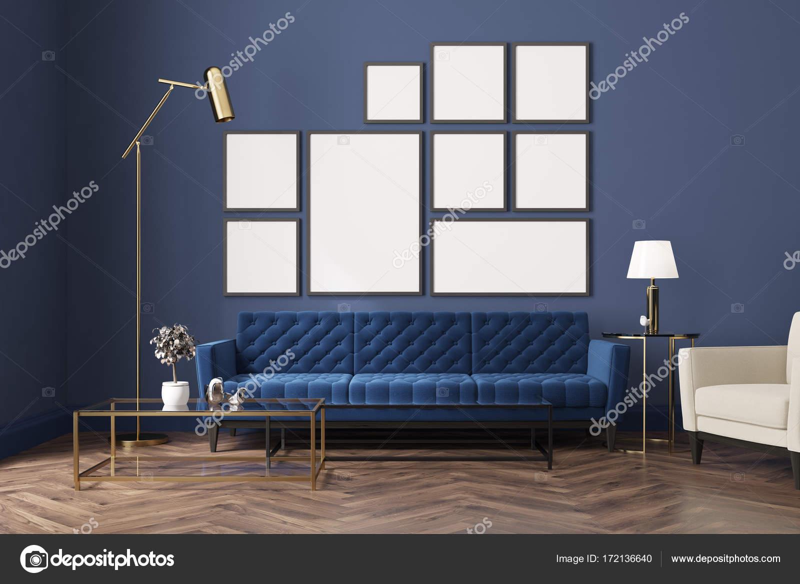 Sof Da Sala Azul Azul Galeria De Cartaz Stock Photo  -> Parede Galeria Sala