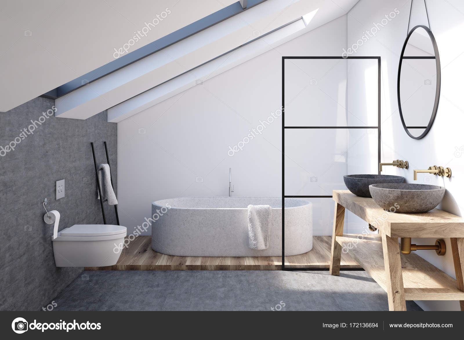 Wände im Dachgeschoss Badezimmer, grau — Stockfoto ...