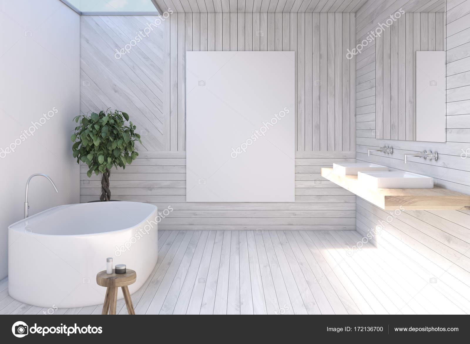 Szara łazienka Drewniane Plakat Zdjęcie Stockowe