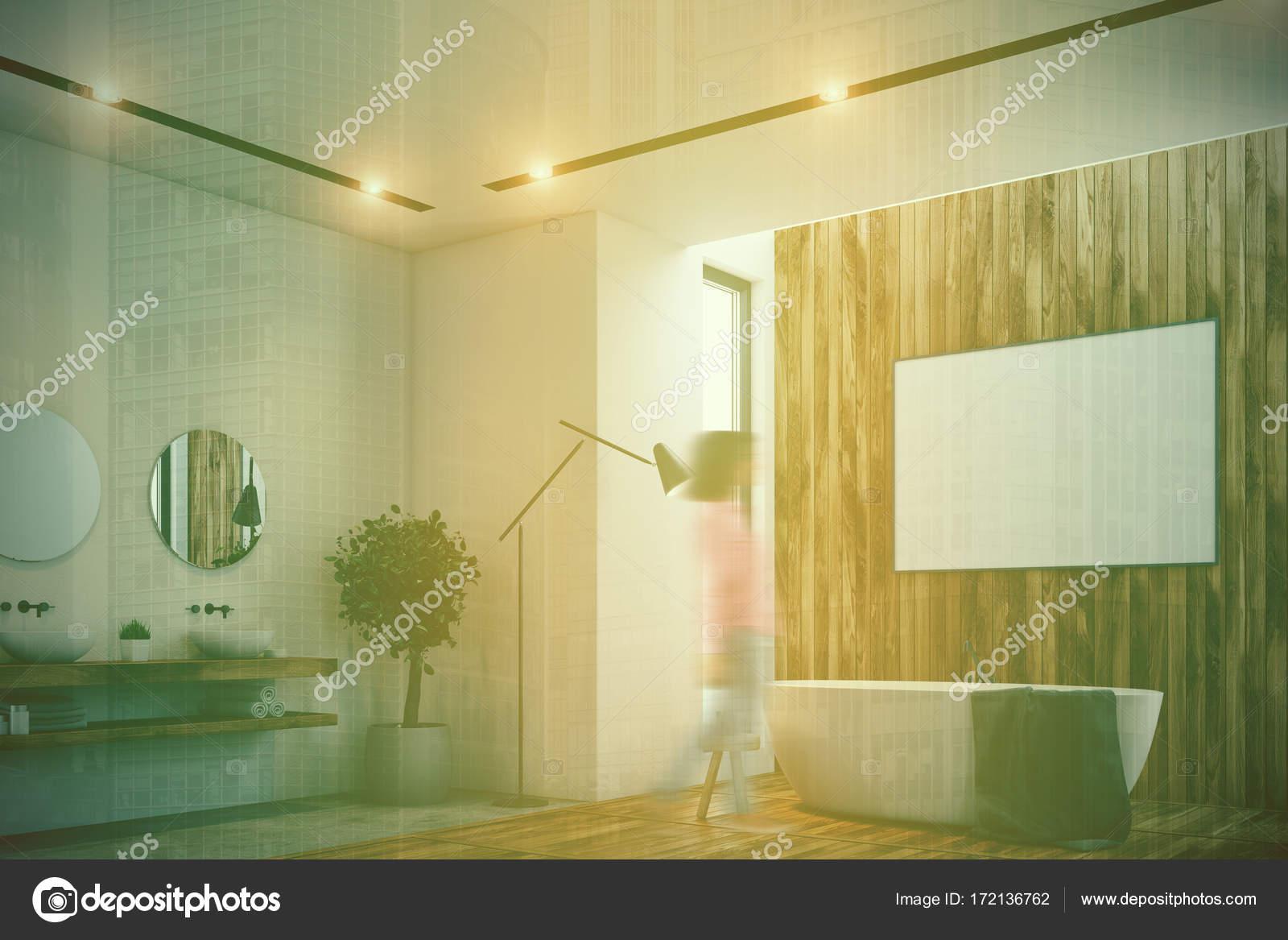 Salle de bain de luxe, affiche, baignoire, WC, coin tonifié ...