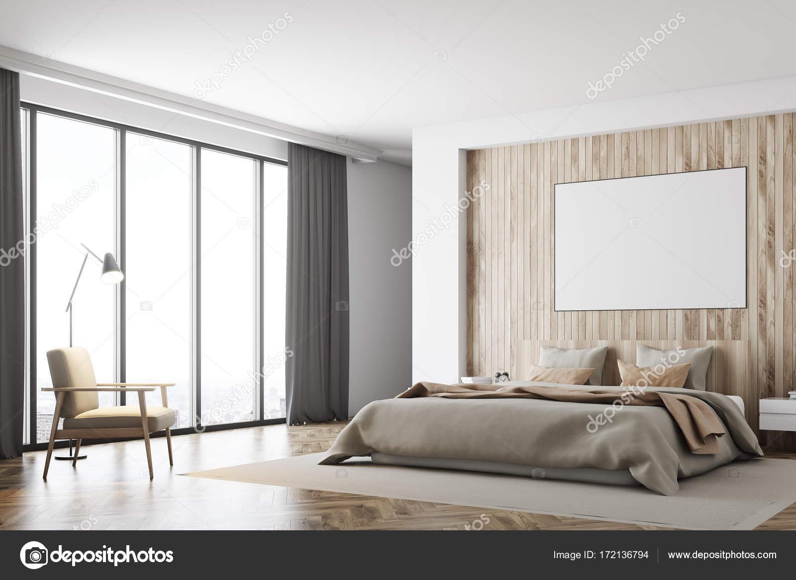 Camera da letto bianca e legno, poster, lato — Foto Stock ...
