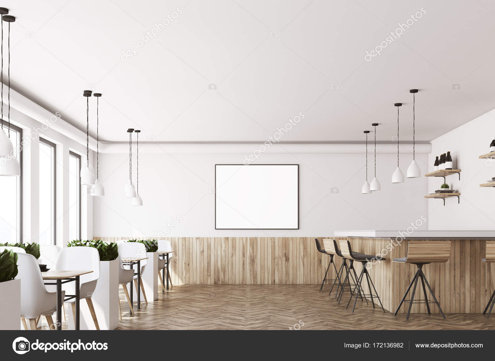 White Cafe Interior Poster Wood Stock Photo