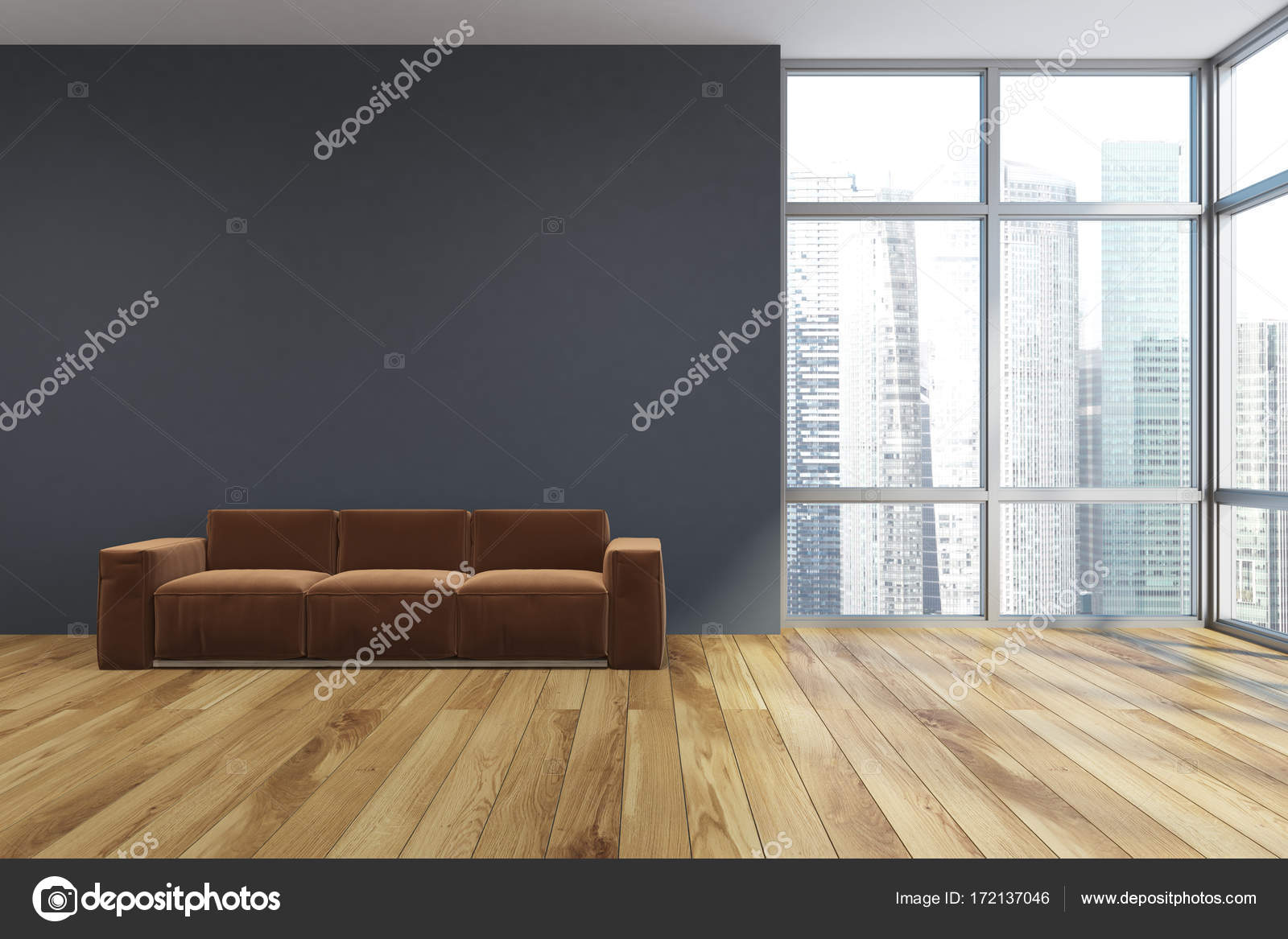 Sofa im leeren grauen Wohnzimmer, braun — Stockfoto © denisismagilov ...