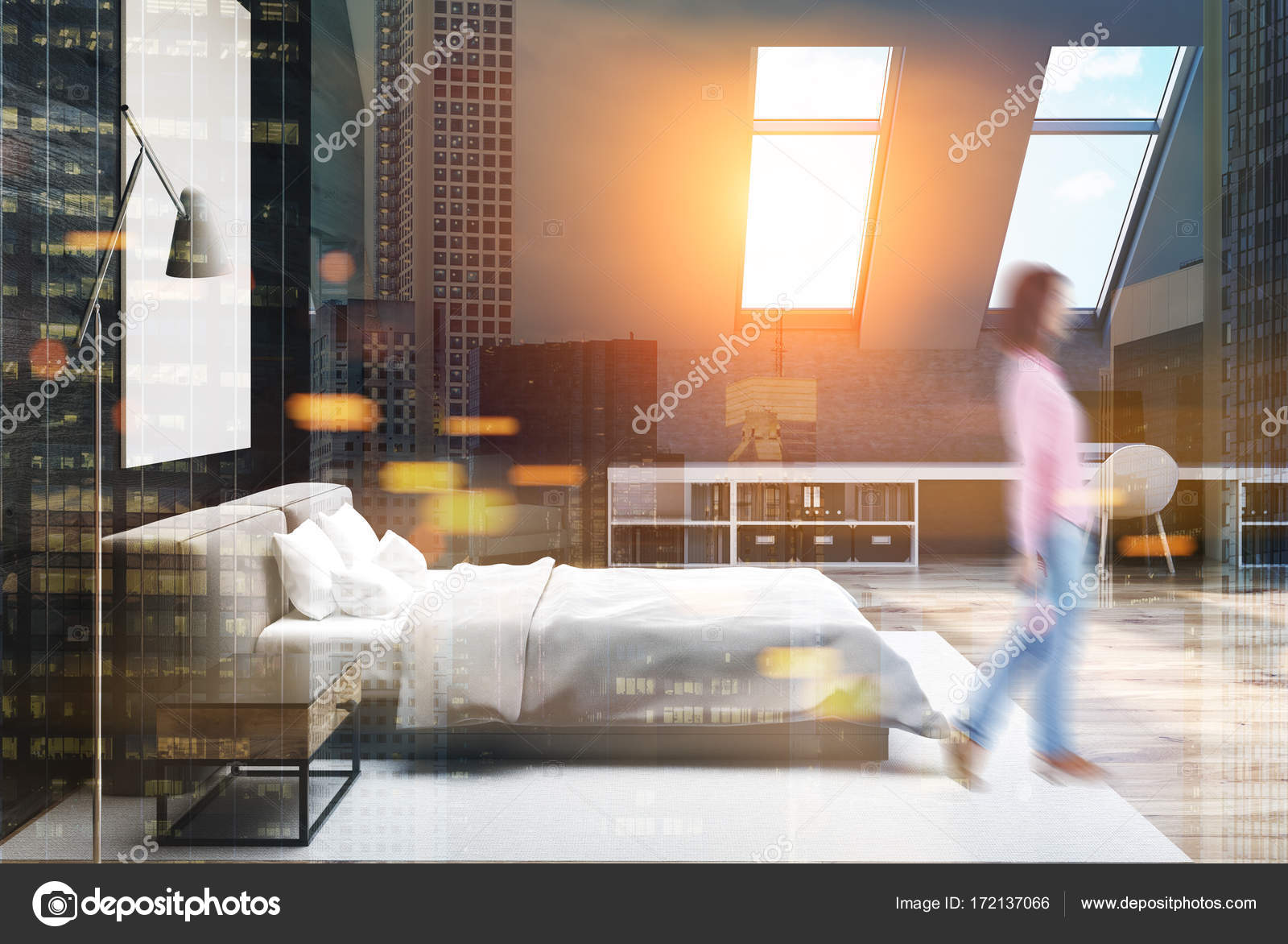 Chambre à coucher bois gris et noir, affiche, côté femme ...