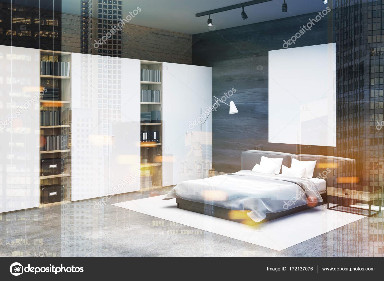 Gray e mattoni ad angolo camera da letto, poster tonica ...