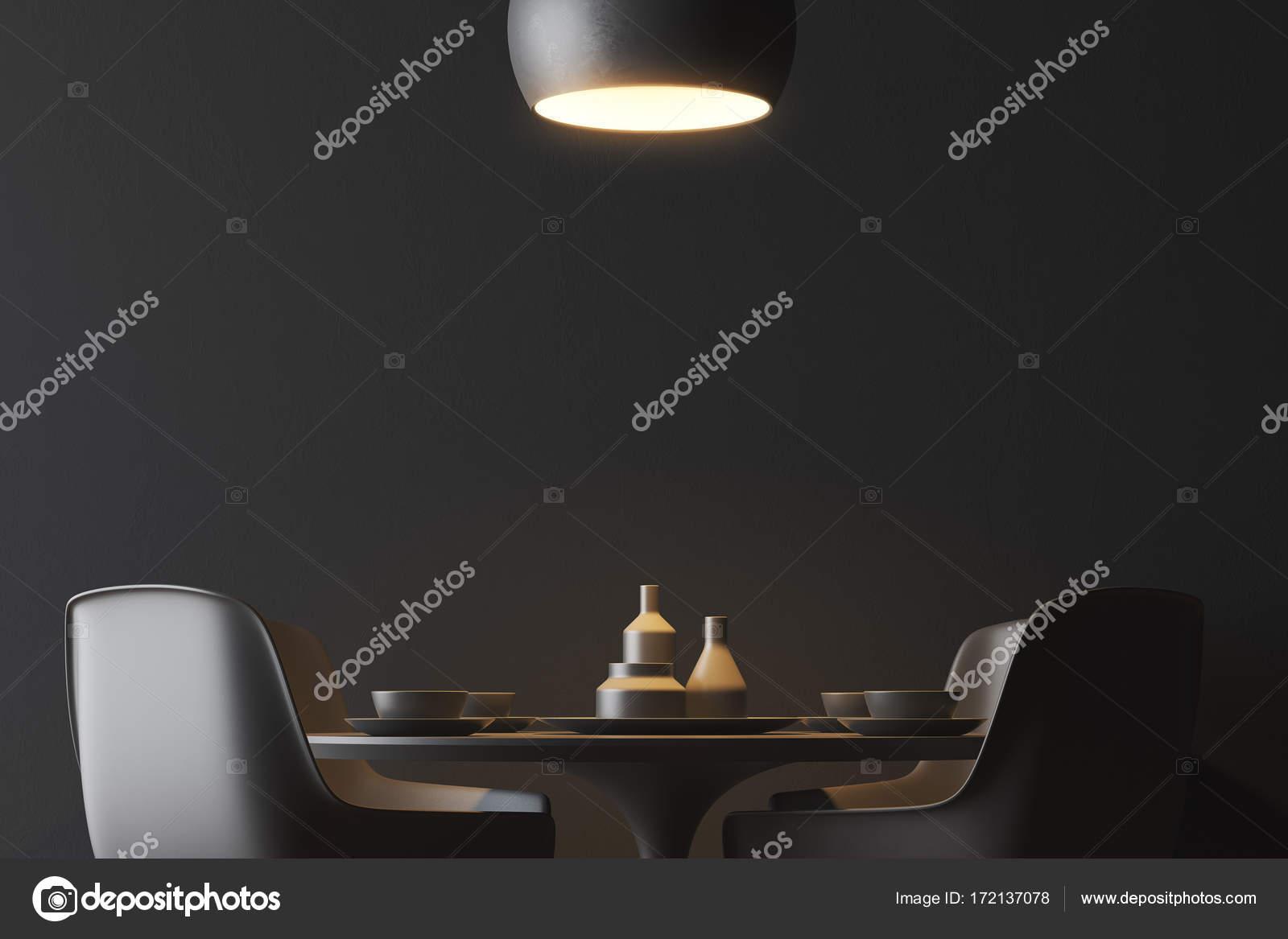Zwarte muur eetkamer interieur u2014 stockfoto © denisismagilov #172137078