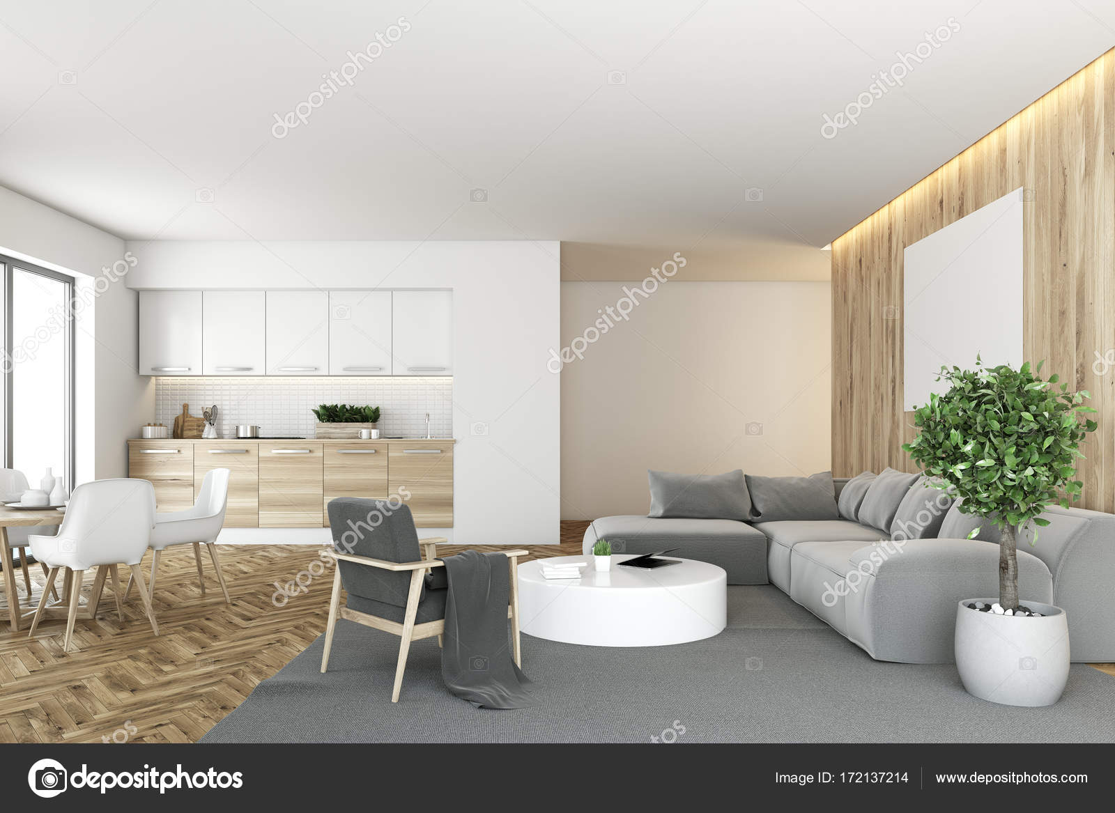 Cucina Legno E Bianco white and wooden kitchen and living room — stock photo