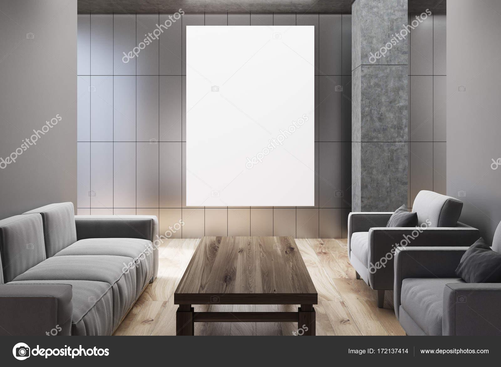 Grigio soggiorno, divani grigi, poster — Foto Stock © denisismagilov ...