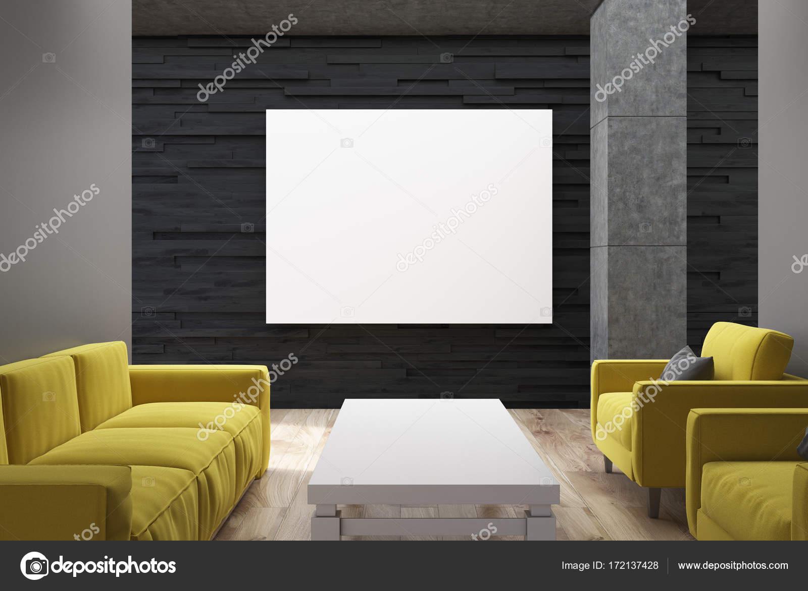 Schwarz, Wohnzimmer, gelbe Sofas, poster — Stockfoto ...