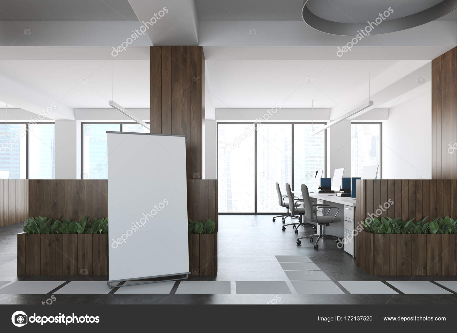 Ufficio Bianco E Legno : Ufficio open space in legno e bianco poster u foto stock