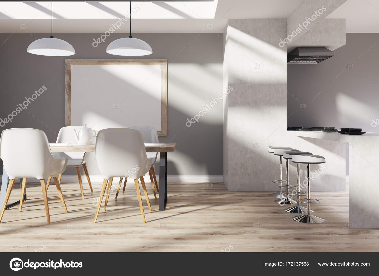Gray, hölzerne Küche, Esszimmer, Plakat — Stockfoto © denisismagilov ...