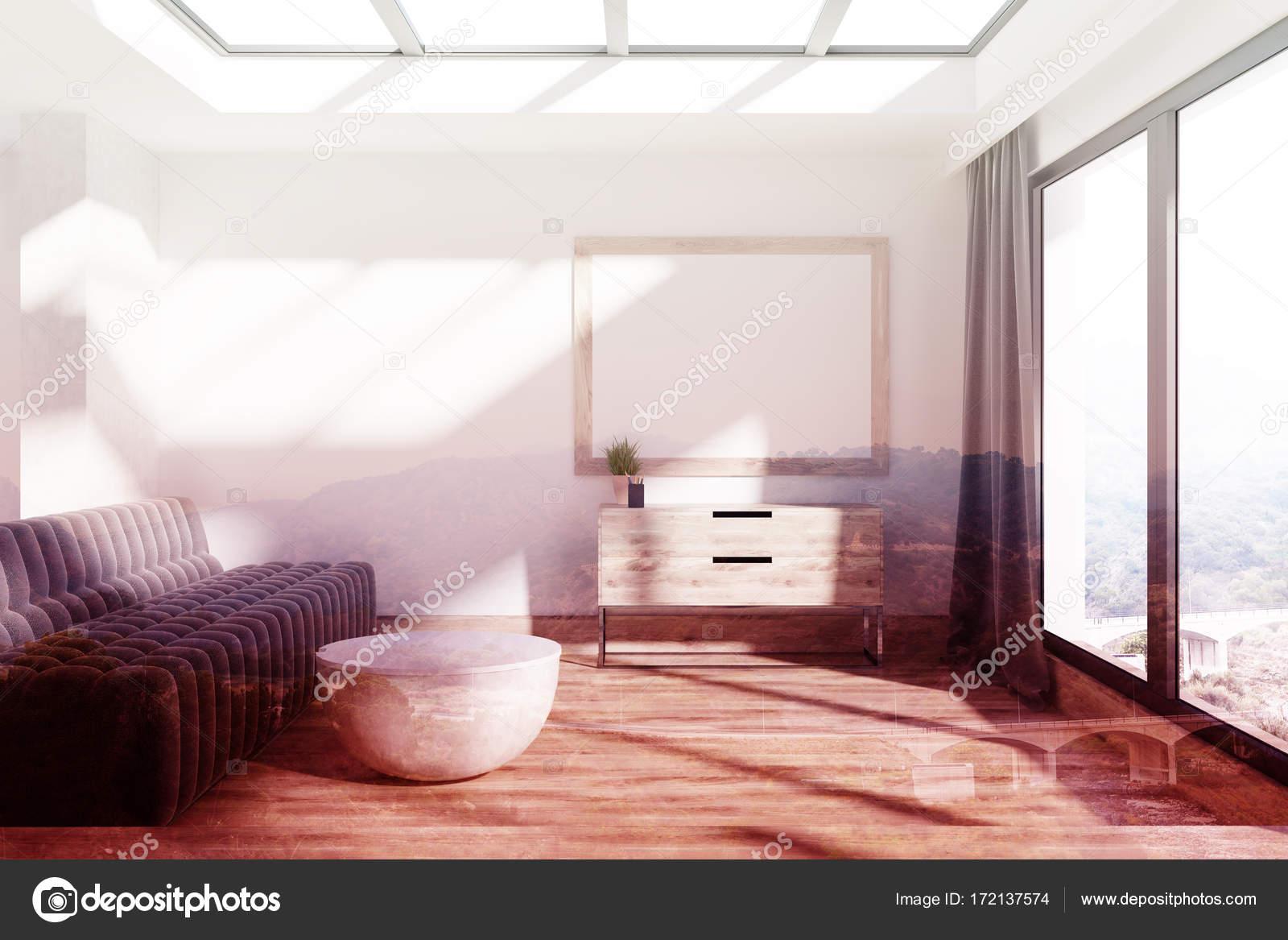 Getönten minimalistisch wohnzimmer sofa und poster u2014 stockfoto