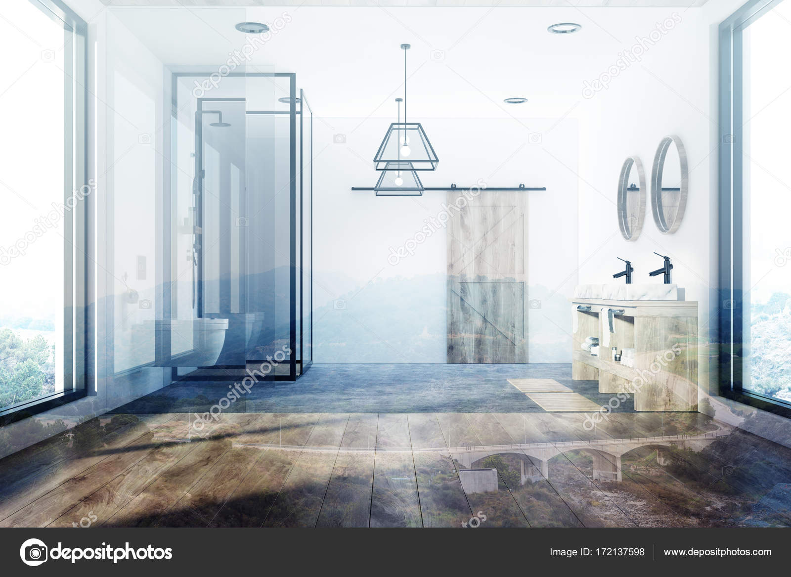 White bathroom, tub, sink and shower toned — Stock Photo ...