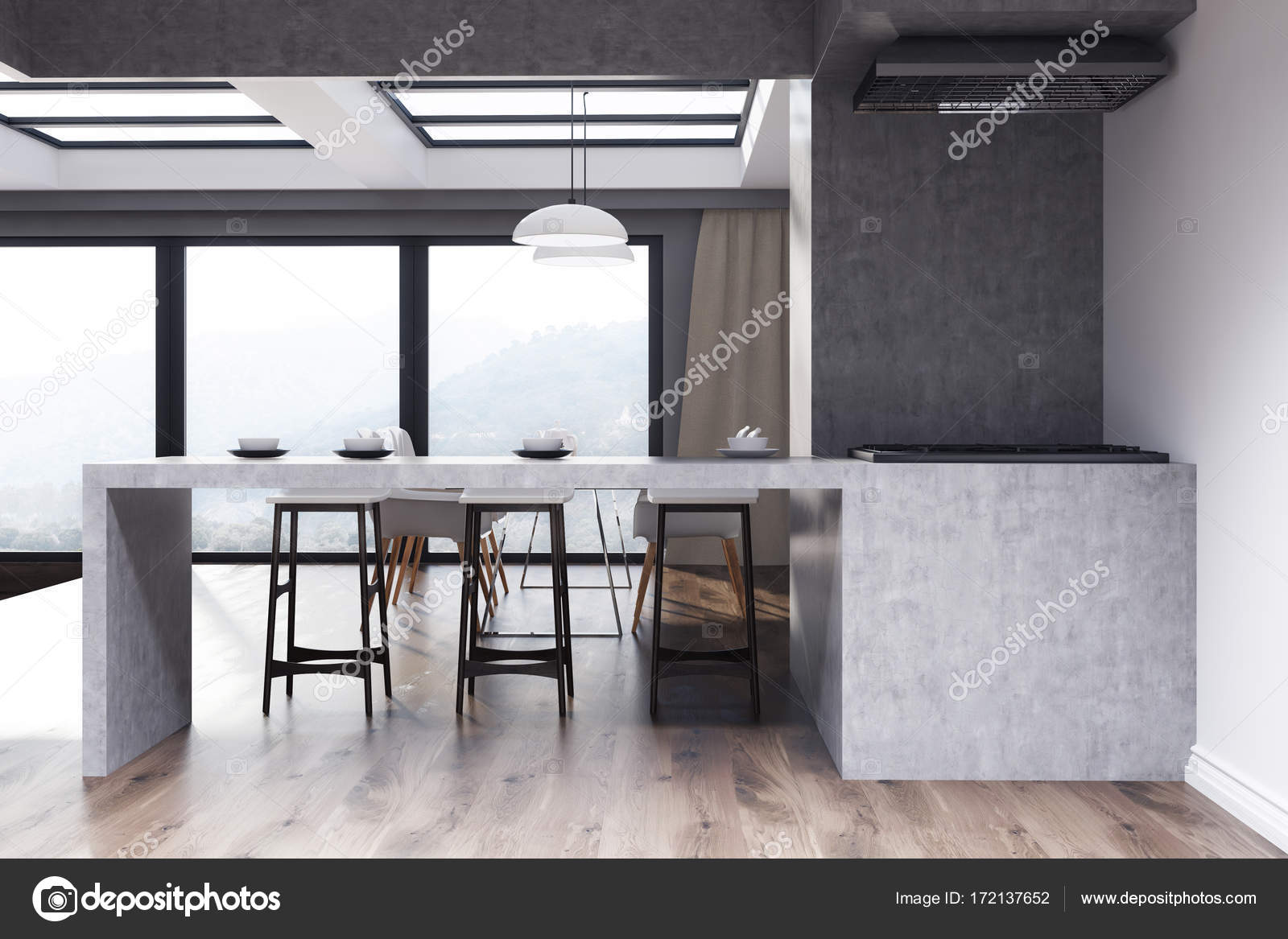 Cucina bianca e grigia con un bar stand — Foto Stock ...