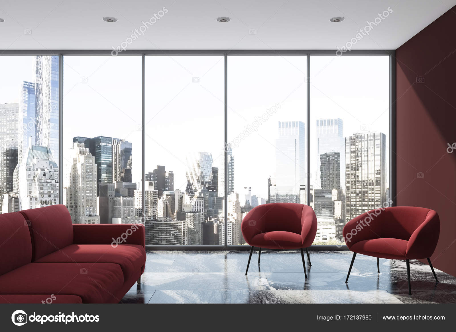 Purple living room, red sofa, armchair, loft — Stock Photo ...