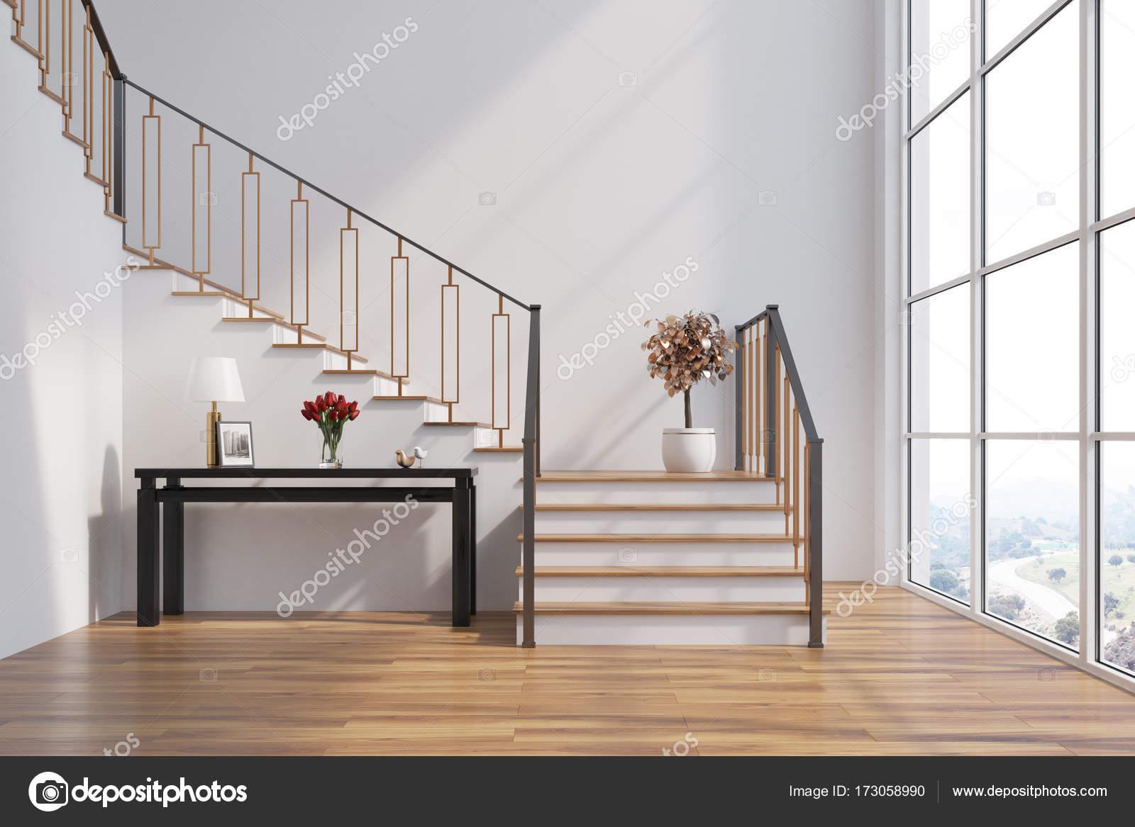 Wit woonkamer trap tabel u stockfoto denisismagilov