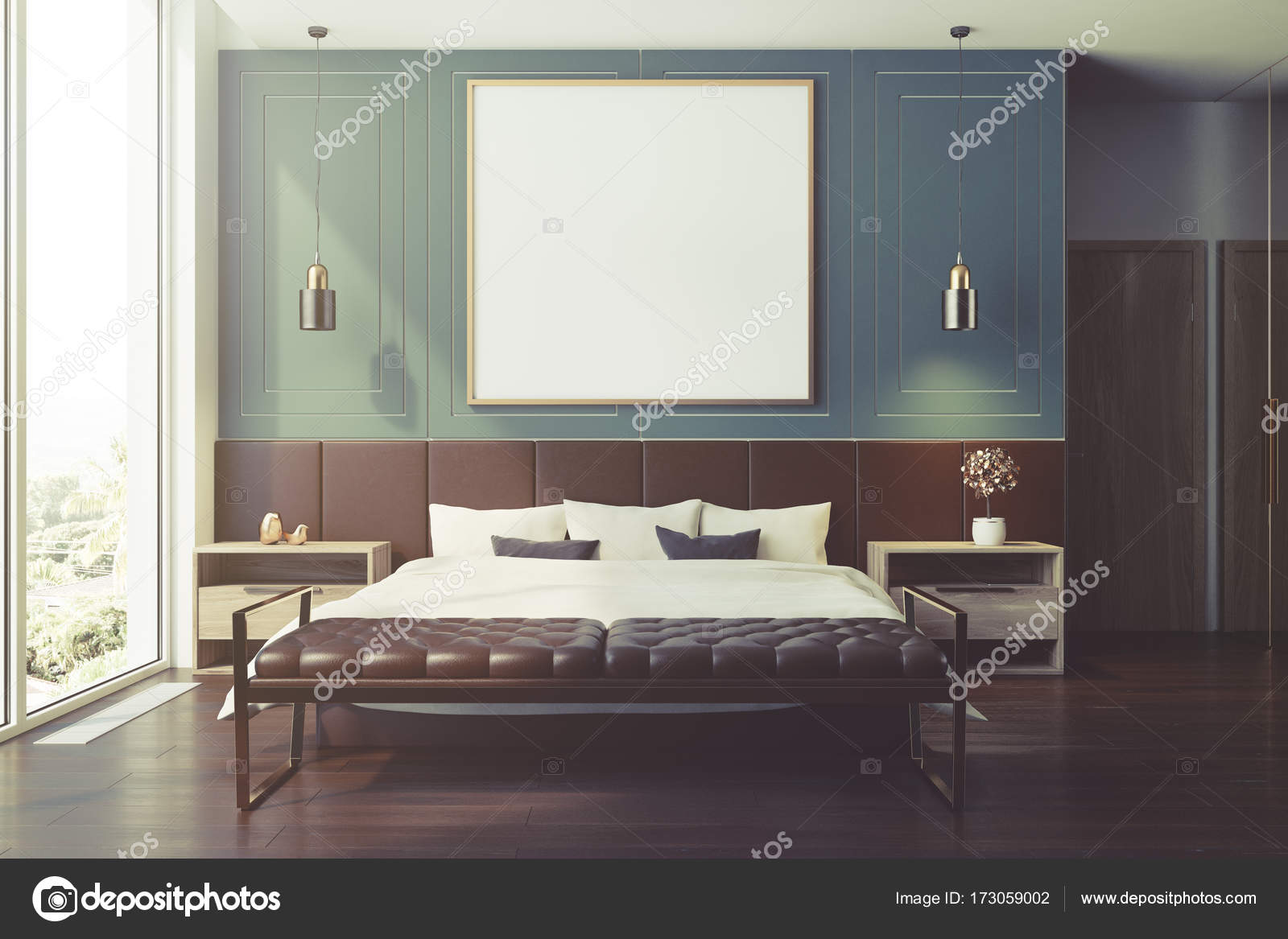 Interno camera da letto blu, poster tonica — Foto Stock ...