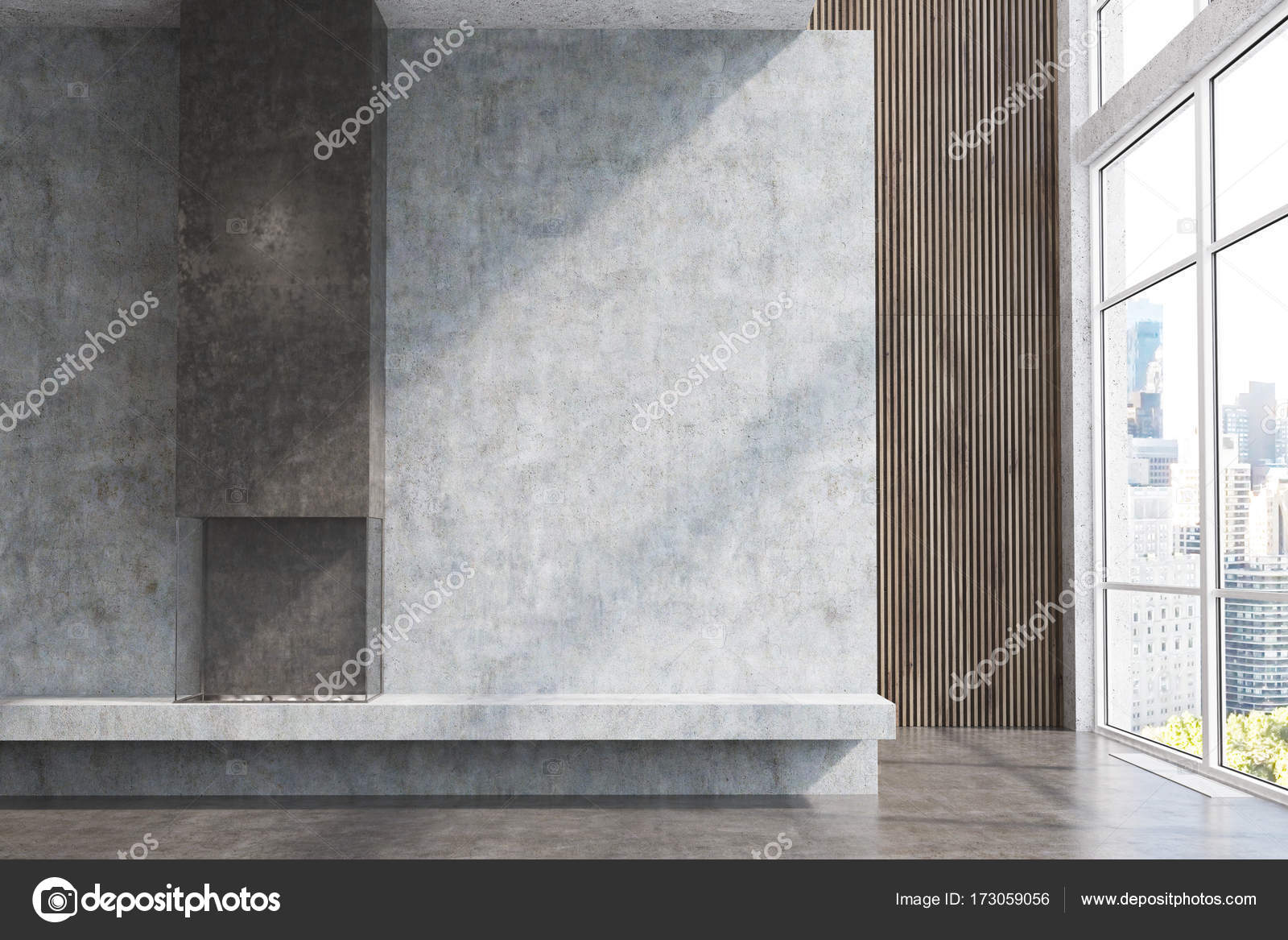 Concrete and dark wood living room, fireplace — Stock Photo ...
