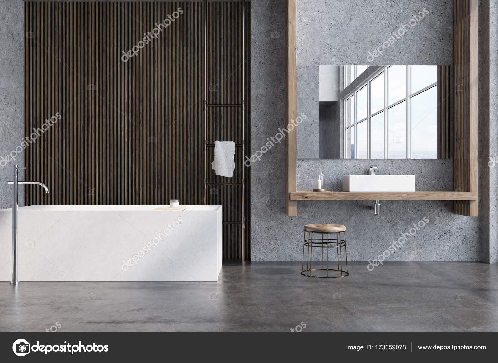 Grijs en donker houten badkamer, Bad — Stockfoto © denisismagilov ...