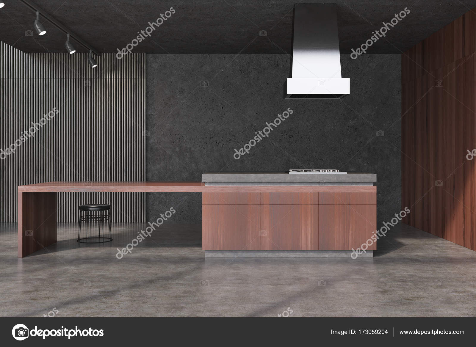 Concrete And Black Wooden Dining Room Bar Stock Photo