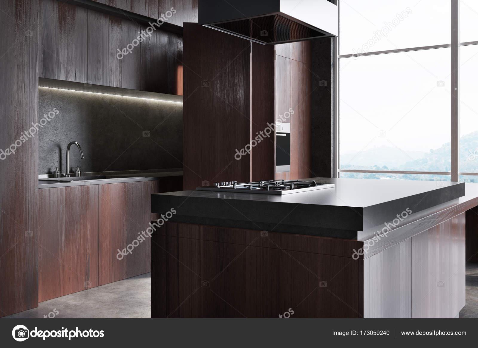Dunkles Holz Und Marmor Küchenarbeitsplatte Hautnah Stockfoto