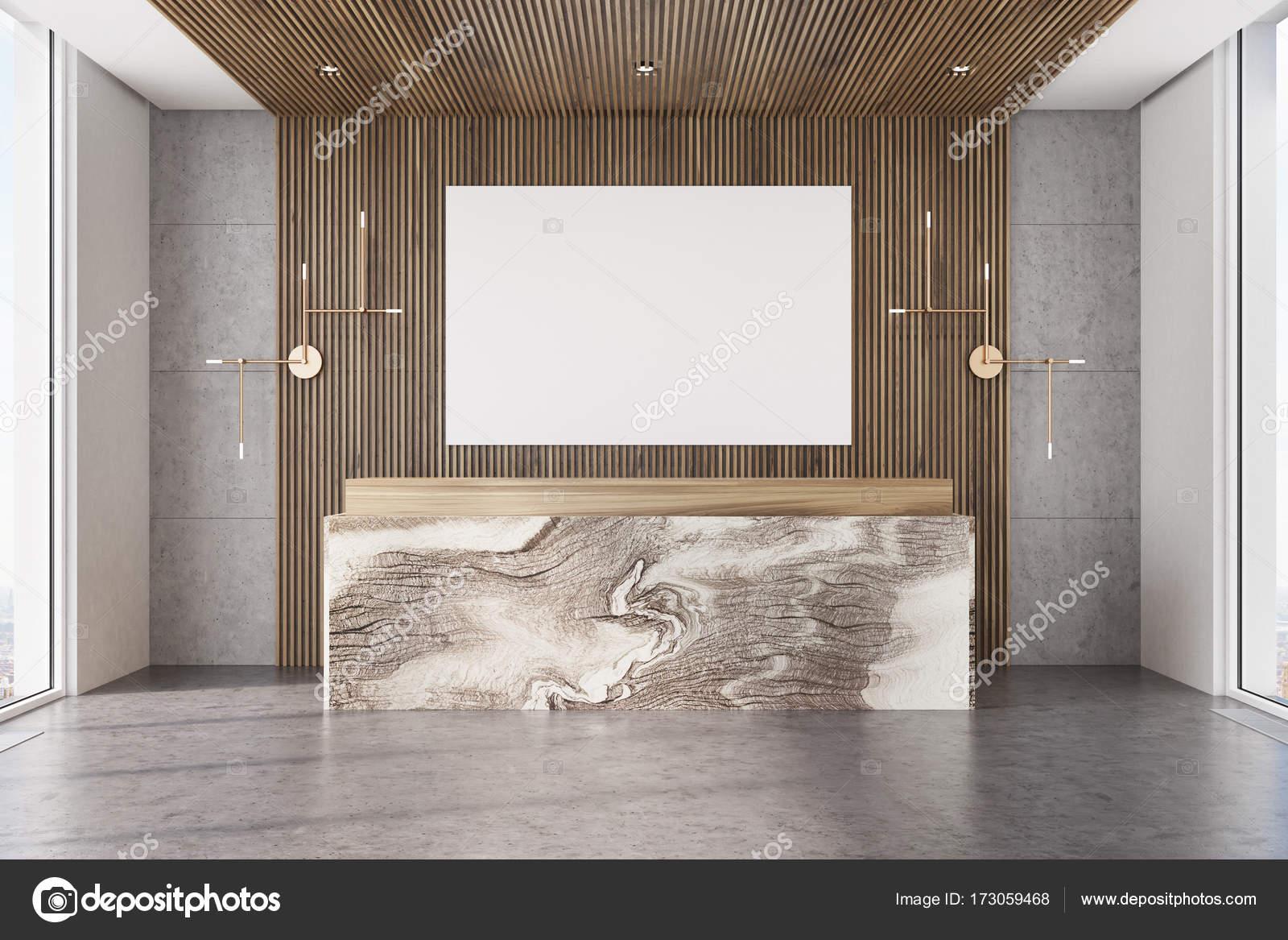 Bureau en bois réception en marbre affiche u photographie
