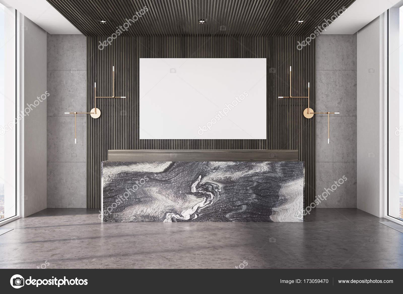 Dunklen hölzernen Büro, Marmor Rezeption, poster — Stockfoto ...