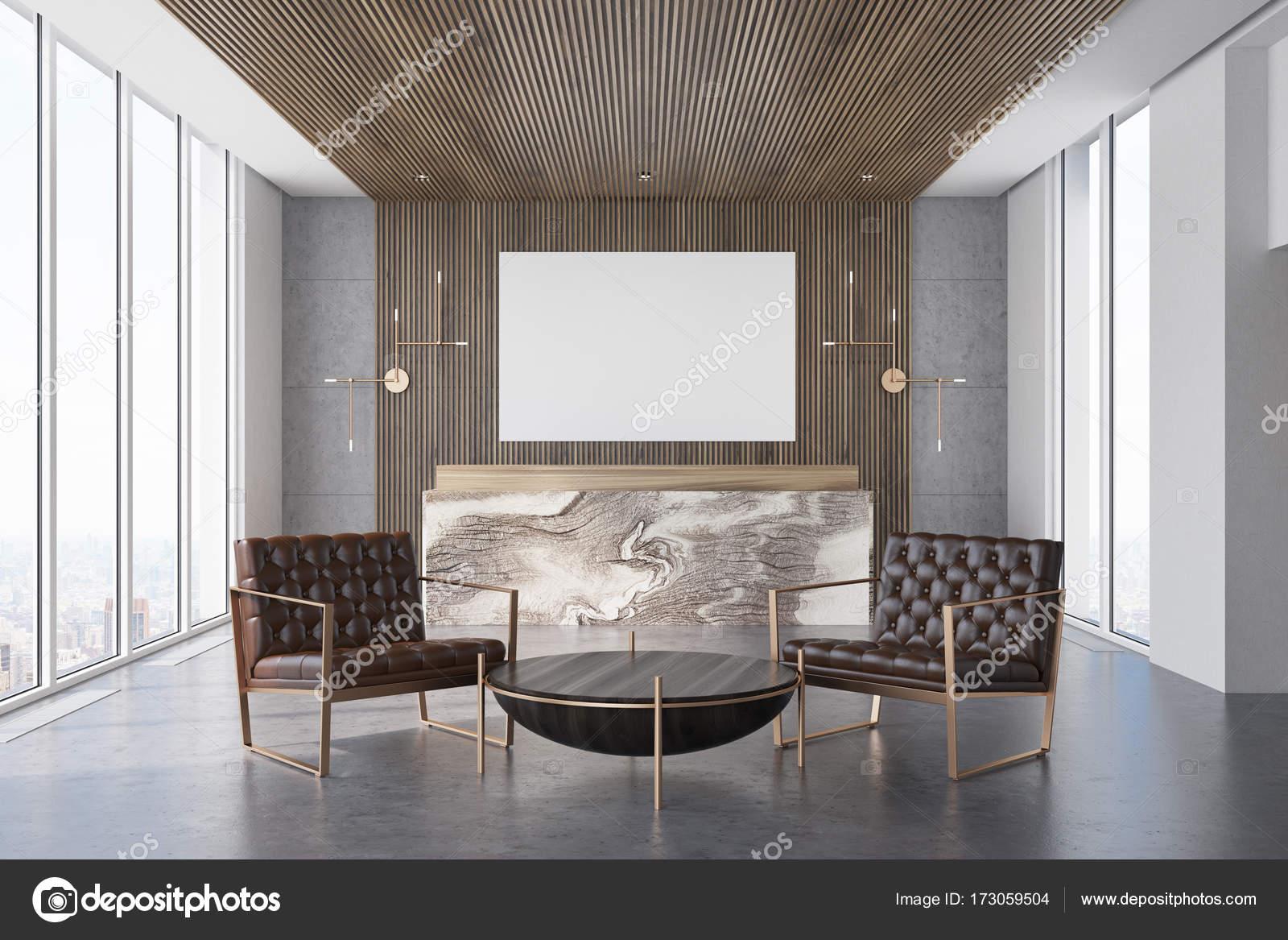 Reception Ufficio Legno : Gray e ufficio in legno reception e sala d attesa u foto stock