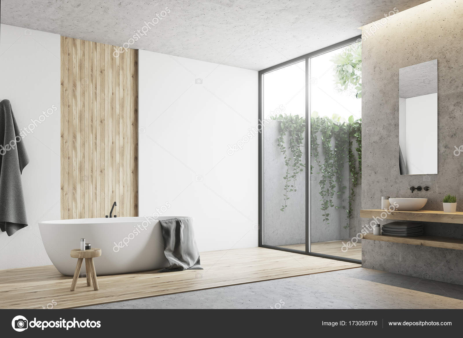 Bagno Legno E Bianco : Angolo bagno bianco e legno u foto stock denisismagilov