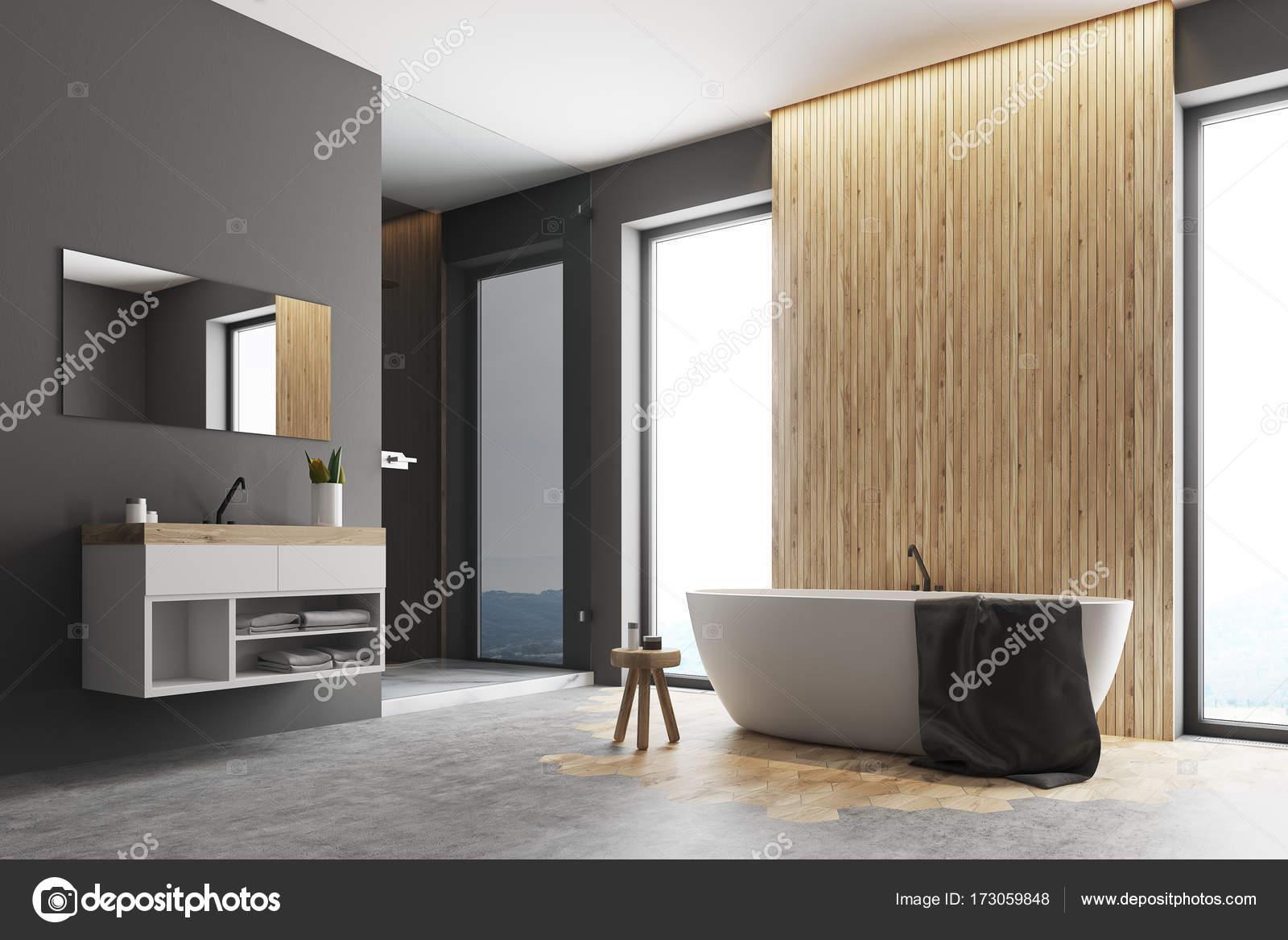 Bagno Legno E Grigio : Angolo bagno grigio e legno u2014 foto stock © denisismagilov #173059848