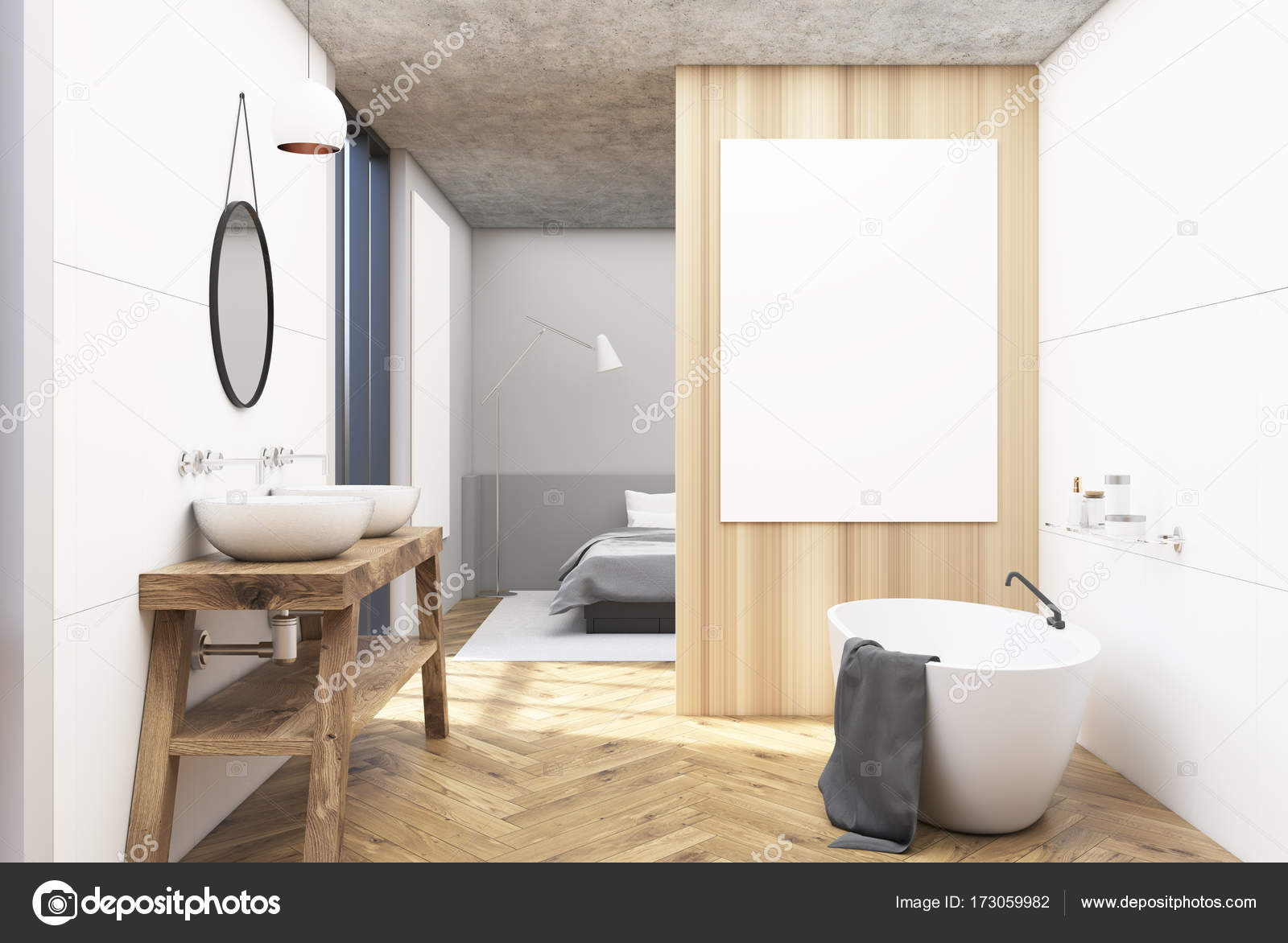 Weiß, aus Holz Badezimmer und ein Schlafzimmer — Stockfoto ...