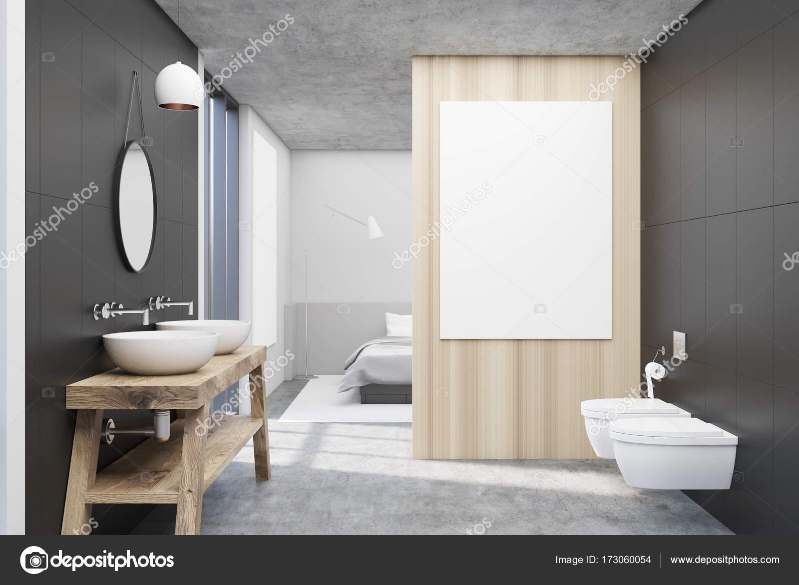Ronde Spiegel Badkamer : Grijze badkamer met een ronde spiegel u stockfoto denisismagilov