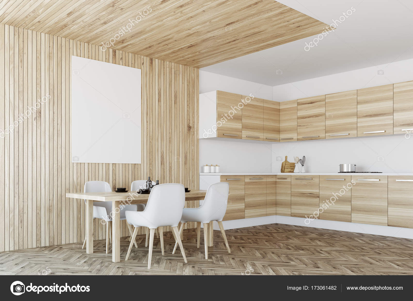 Moderne küche interieur holz und poster u stockfoto
