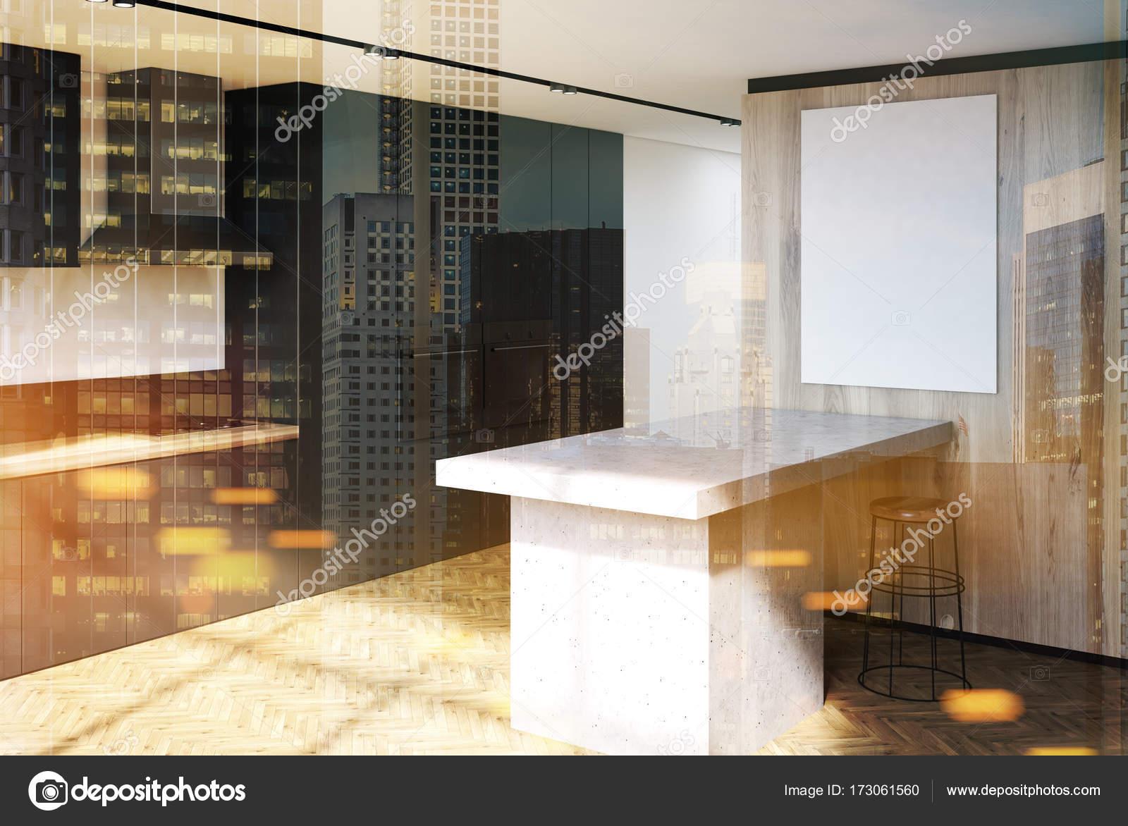 Lato nero piani cucina in legno di lusso tonico — Foto Stock ...