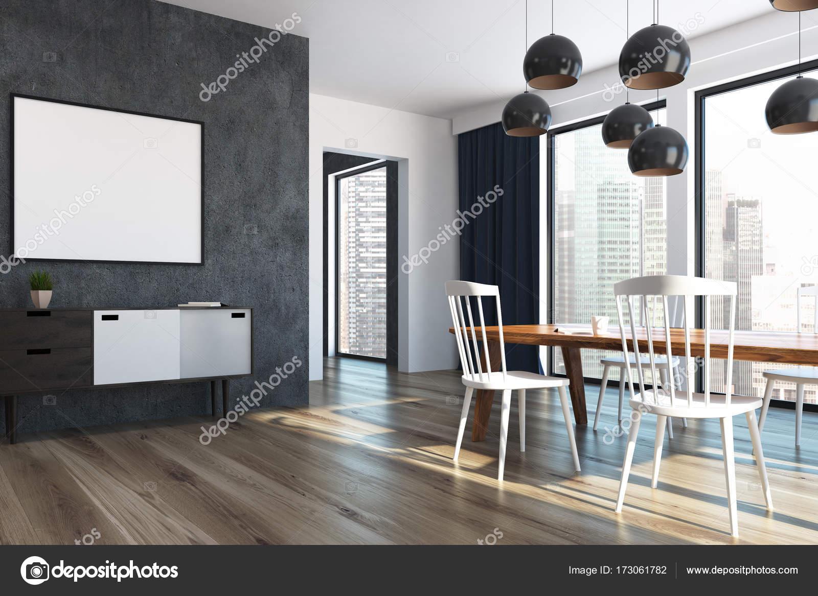 Blaue Vorhänge Esszimmer, Plakat-Seite — Stockfoto © denisismagilov ...