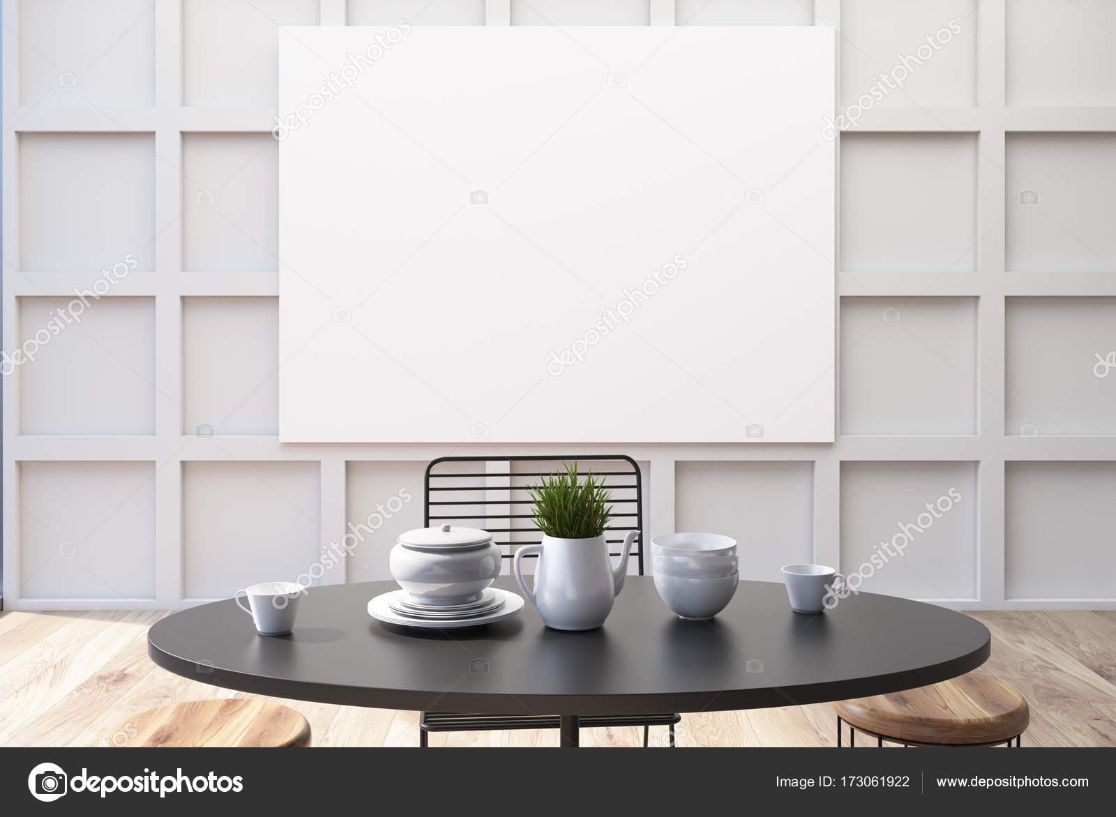 Witte muur eetkamer interieur poster u stockfoto denisismagilov
