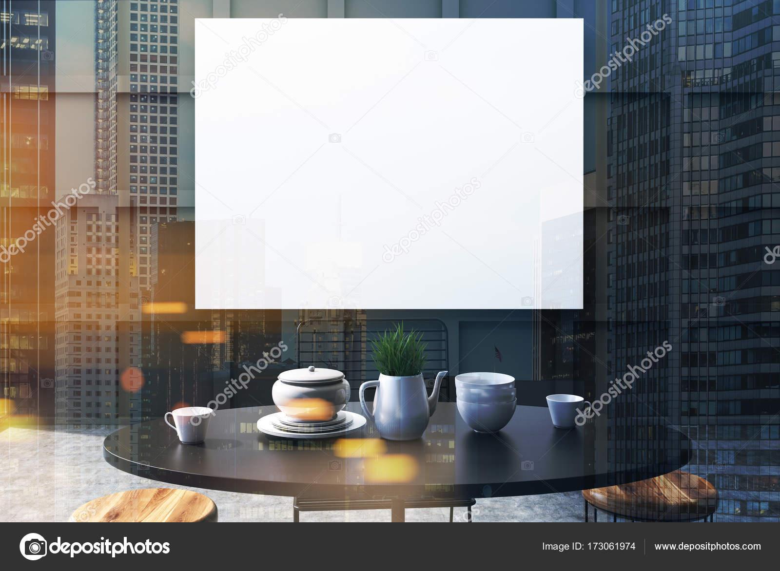 Zwarte eetkamer interieur poster tabel dubbel u stockfoto