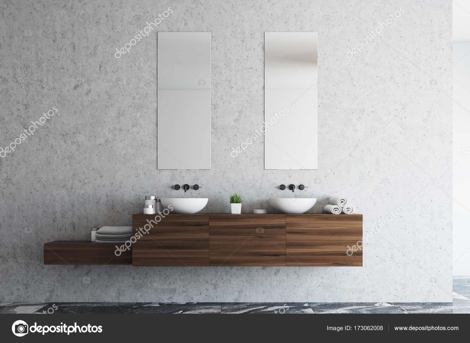 Konkrete Bad Doppelwaschbecken — Stockfoto © denisismagilov #173062008