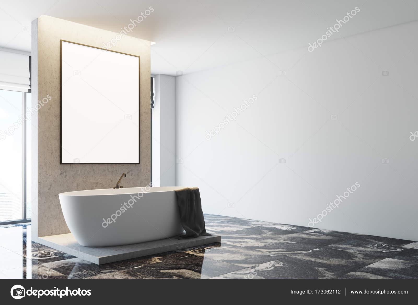 Vasca Da Lavare In Cemento : Chiuda l angolo bagno bianco e cemento u foto stock