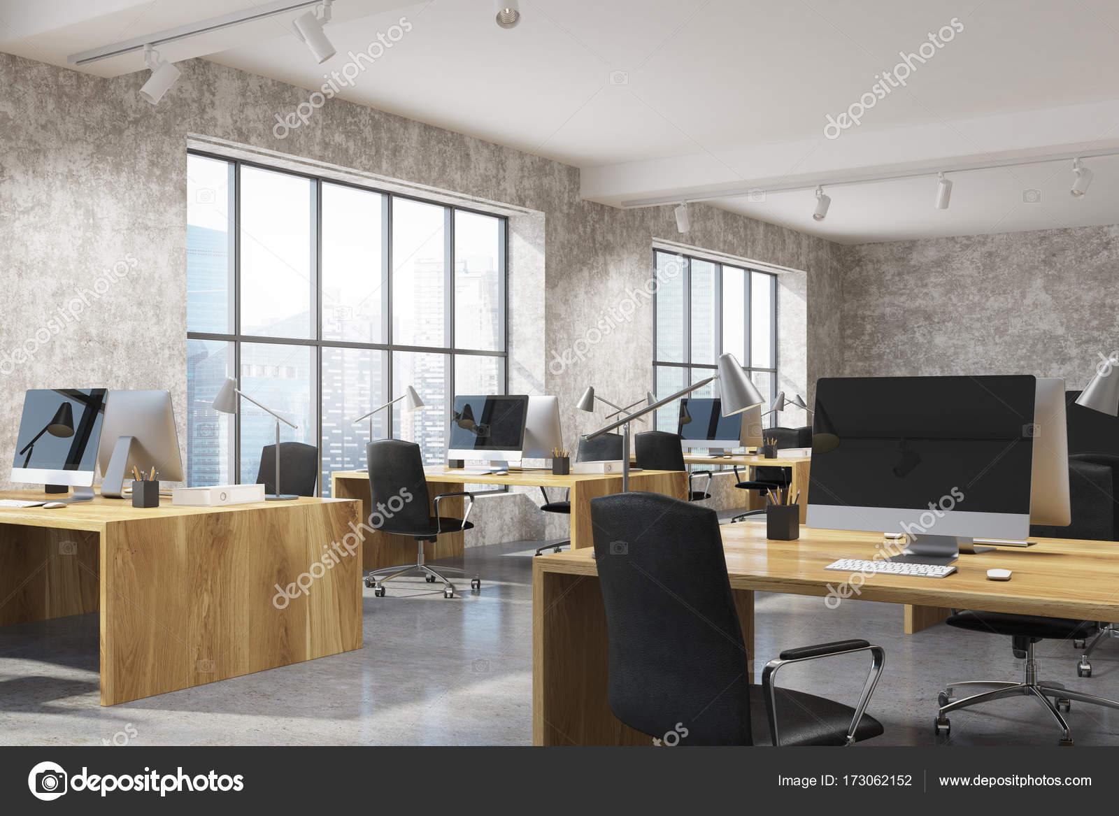 Bois intérieurs de bureau béton espace ouvert u photographie