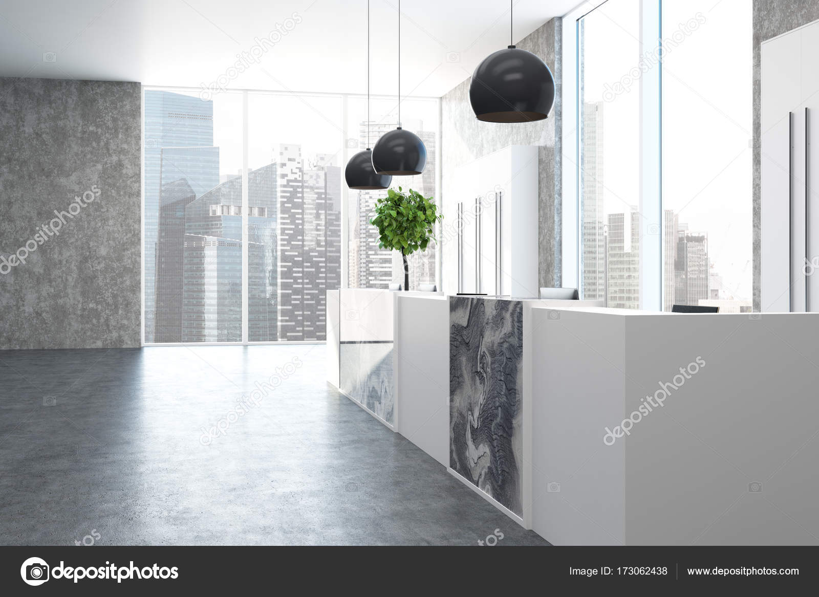 Bureau de marbre et de béton côté réception u photographie