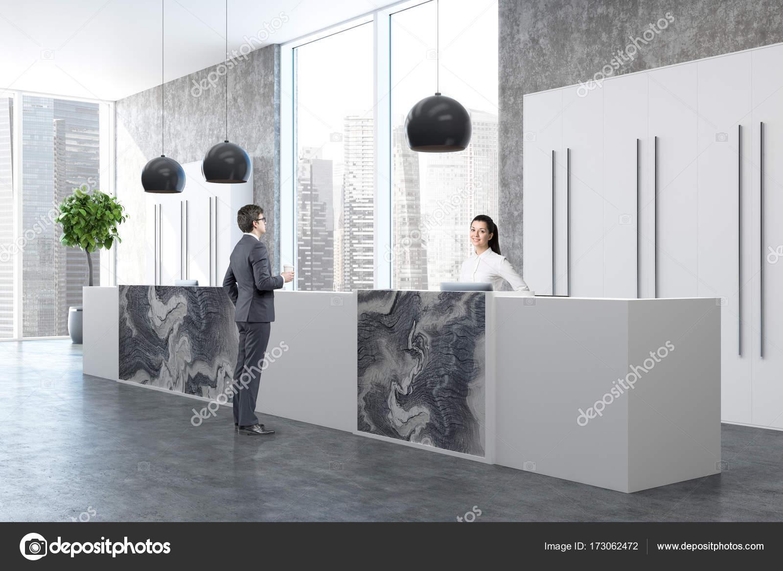 Coin bureau béton marbre réception personnes u photographie