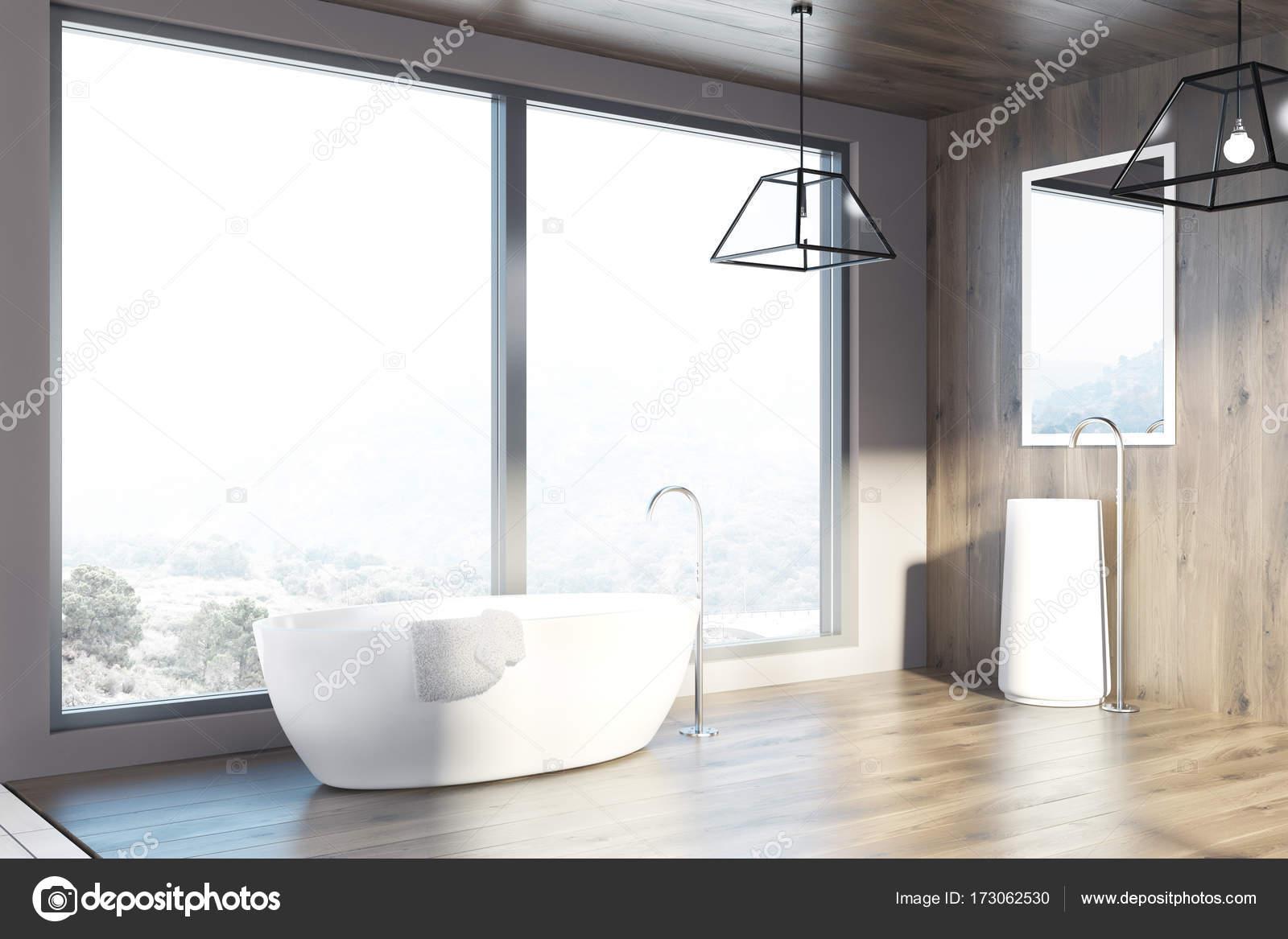 Dachboden Sie Aus Holz Bad Badewanne Und Waschbecken Seite