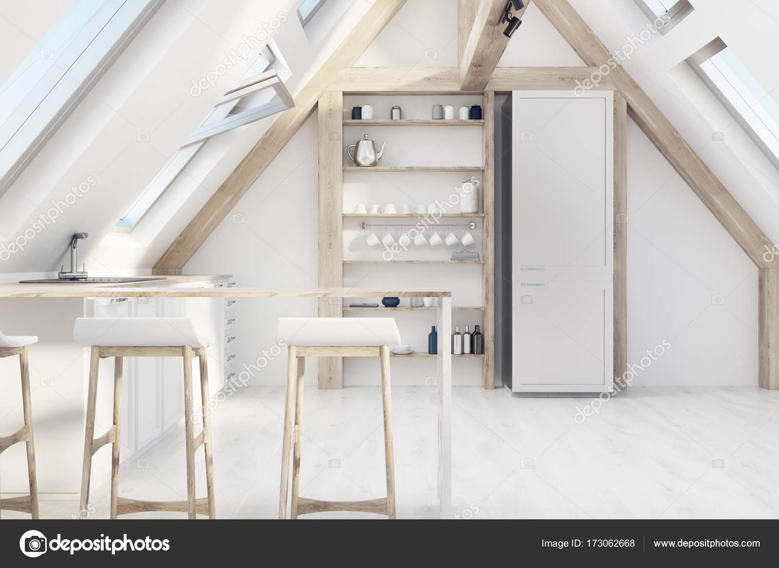 Cucina mansarda con una barra — Foto Stock © denisismagilov #173062668