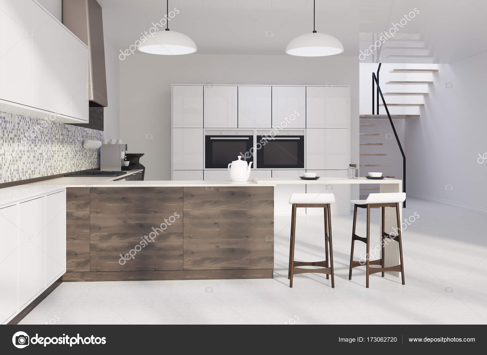 Mosaik Küche, dunklem Holz bar — Stockfoto © denisismagilov #173062720