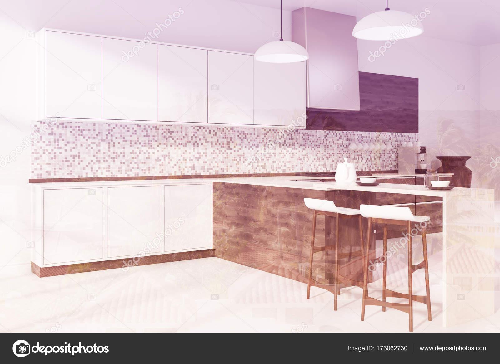 Mosaik Küche, dunklem Holz bar Seite getönt — Stockfoto ...