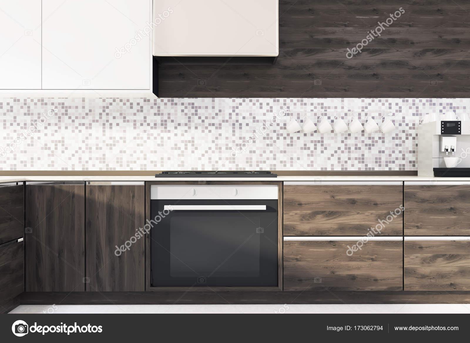 Mozaiki Kuchni Ciemne Drewniane Blaty Z Bliska Zdjęcie