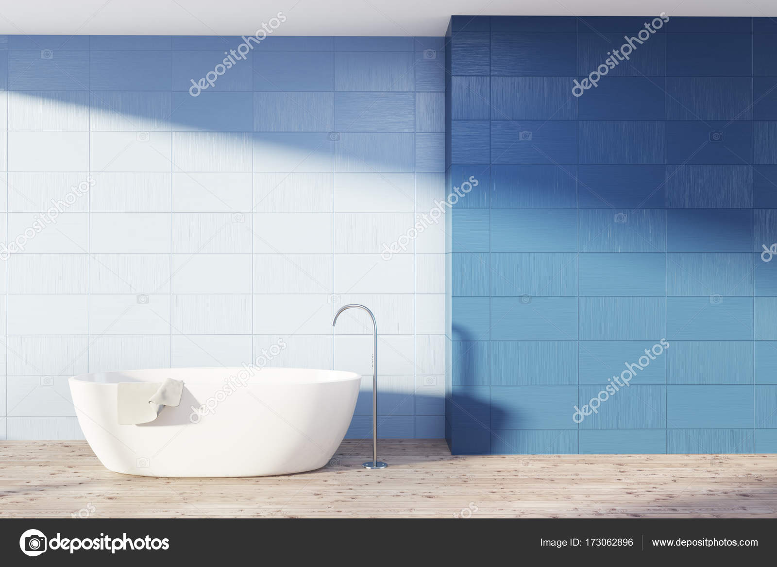 Blue bathroom interior, white tub — Stock Photo © denisismagilov ...