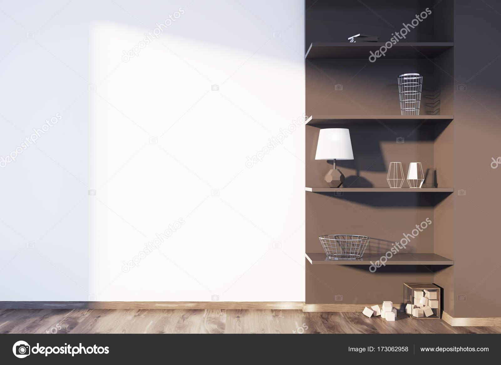 Biały I Brązowy Salon Półki Zdjęcie Stockowe